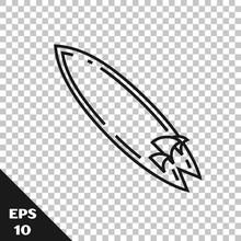 Black Line Surfboard Icon Isol...