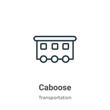 Caboose Outline Vector Icon. Thin Line Black Caboose Icon, Flat Vector Simple Element Illustration From Editable Transportation Concept Isolated On White Background