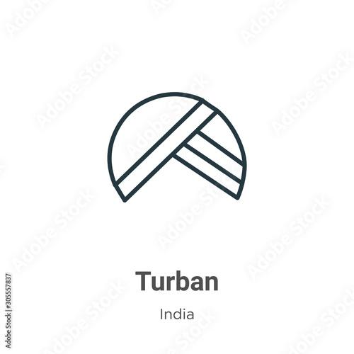 Fotografia Turban outline vector icon