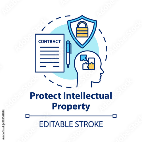 Obraz Protect intellectual property concept icon. Copyright legislation. Trade secret safety. Intellectual cooperation agreement idea thin line illustration. Vector isolated outline drawing. Editable stroke - fototapety do salonu