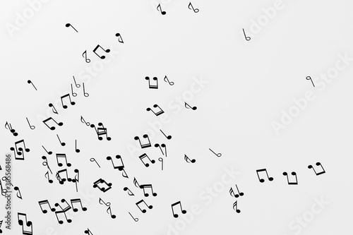Black music notes with white background, 3d rendering.