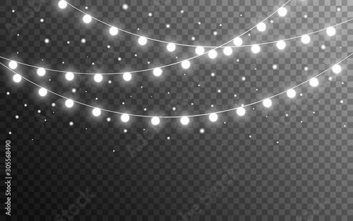 Christmas lights and snow flakes on transparent backdrop Canvas Print