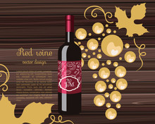 Red Wine With A Gold Bow, Bunch Of Grapes, Bottle Wine, Celebratory Drink, Birthday Drink,  Vector Illustration.