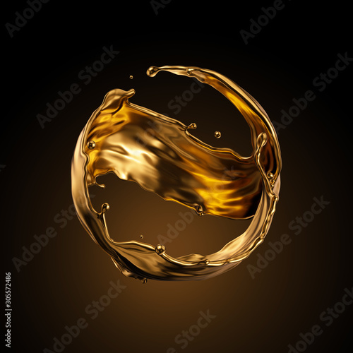 Cuadros en Lienzo  3d rendering, round gold liquid splash, metallic wave, swirl, cosmetic oil, golden splashing clip art, artistic paint, abstract design element isolated on black background