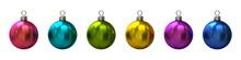 Set Of Six Colorful Christmas Balls 3D
