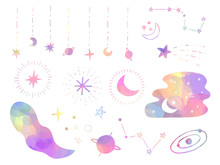 Pastel Colored Moon And Stars Decorative Elements