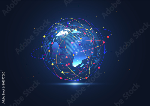 Obraz Global network connection. World map point and line composition concept of global business. Vector Illustration - fototapety do salonu