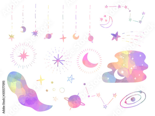 Foto pastel colored moon and stars decorative elements