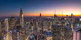 Fototapeta Nowy Jork - New York City Manhattan midtown buildings skyline evening sunset