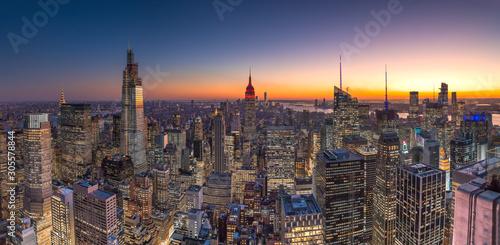 New York City Manhattan midtown buildings skyline evening sunset