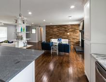 Modern Wood Accent Wall In Open Floor Plan