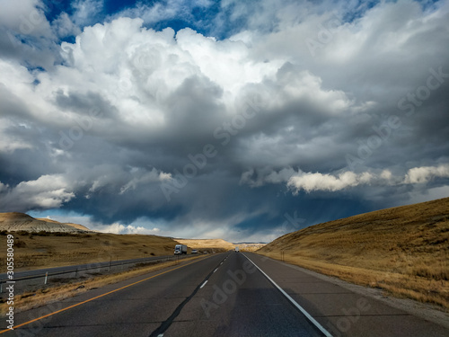 Photo Sky, clouds, road in Albuquerque, New Mexico from the Sandia Mountain Crest