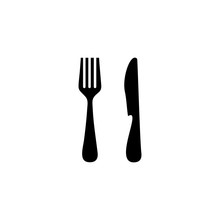 Spoon And Fork Icon Vector Des...