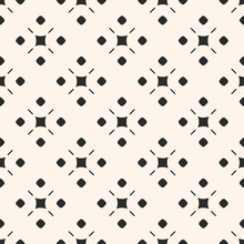 Vector Monochrome Ornamental Geometric Background Texture. Simple Seamless Pattern With Circles, Squares, Lines. Traditional Motif In Modern Digital Rendition. Design For Decor, Fabric, Textile, Cloth