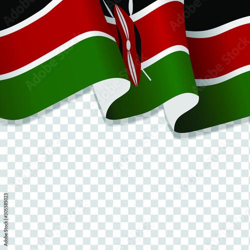 Waving flag of Kenya. illustration of wavy Kenya Flag for National Day. Kenya Flag Flowing. Kenya flag on transparent background  Wall mural