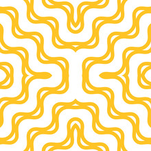 Yellow Wavy Seamless Pattern. Abstract Vector Texture With Curved Lines, Diagonal Waves, Stripes. Stylish Modern Colorful Background. Simple Repeat Design For Decor, Print, Textile, Fabric, Wallpapers