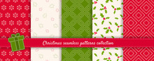 Christmas Seamless Patterns Collection. Vector Set Of Winter Holiday Background Swatches. Modern Colorful Abstract Textures With Snowflakes, Pine Trees, Mistletoe, Nordic Ornaments. Repeat Design