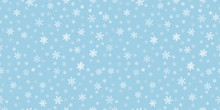 Snowflakes Seamless Background. Subtle Vector Pattern With Small Hand Drawn White Snowflakes On Blue Backdrop. Winter Holidays Theme, Christmas And New Year Texture. Elegant Repeat Design For Decor