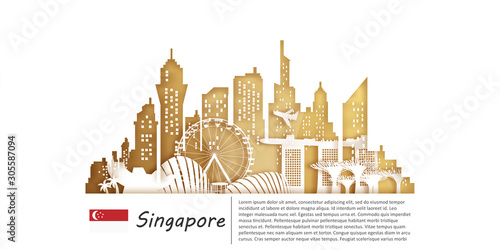 Singapore Travel postcard, poster, tour advertising of world famous landmarks in paper cut style Wallpaper Mural