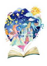 The Whole Fairy Tale World In One Book. Starry Sky, Moon And Sun, Magic Castle, Flying Unicorns.