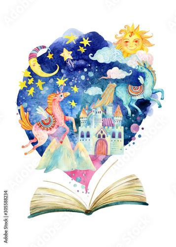 Cały bajkowy świat w jednej książce. Gwiaździste niebo, księżyc i słońce, magiczny zamek, latające jednorożce.