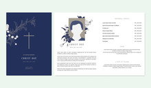 Floral Memorial And Funeral Invitation Card Template Design, Cherry Blossom And Leaves, Blue And Brown Tones