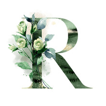 Floral Alphabet, Letter R With Watercolor Flowers, Leaf And Gold Splashes. Monogram Initials Perfectly For Design Wedding Invitations, Greeting Card, Logo. Holiday Decoration Hand Painting.