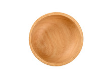 Empty Wooden Bowl On White Bac...