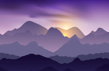 Nature evening landscape with mountain peaks. Mountains traveling vacation vector background. Concept outdoor design
