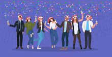 Businesspeople In Santa Hats Having Confetti Corporate Party Mix Race Business People Celebrating Merry Christmas Happy New Year Winter Holidays Concept Horizontal Full Length Vector Illustration