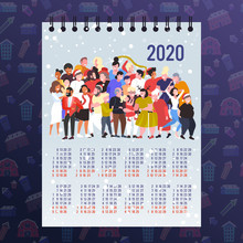 People Celebrating Merry Christmas Happy New Year Party Winter Holidays Concept 2020 Calendar Mix Race Men Women Crowd Standing Together Having Fun Full Length Vector Illustration