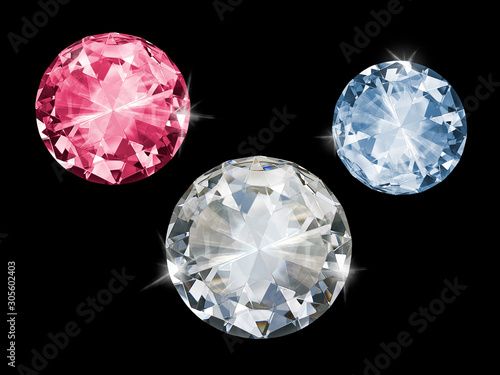Foto Ruby, sapphire and diamond on a black background. Isolated gems