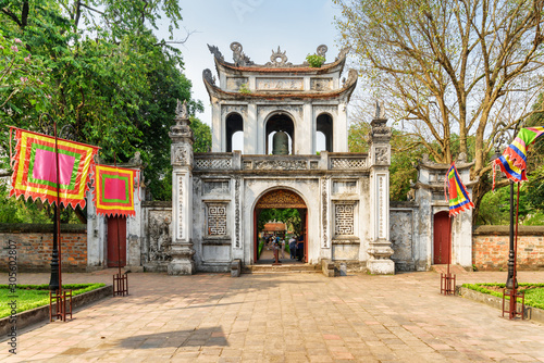 Main gate of the Temple of Literature in Hanoi. Vietnam