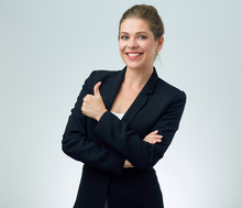 Smiling Woman In Black Suit Do...