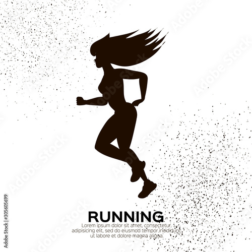 Fototapety, obrazy: Young lady running. Happy fitness woman. Woman runner in black silhouette on white background. Jogging. Dynamic movement. Side view.