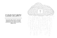 Cloud Security Web Banner Template, Vector Polygonal Art Style Illustration