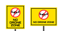 No Drone Zone Yellow Sign  Vertical And Horizontal Orientation