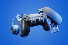 Black Standard Geypad, Headphones And Game Console In The Background On A Blue Background. 3d Rendering.
