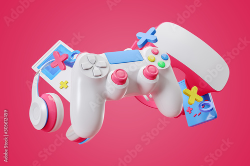 Fototapeta Colorful gamepad, headphones and game console hanging in the air on a pink background. 3d rendering. obraz