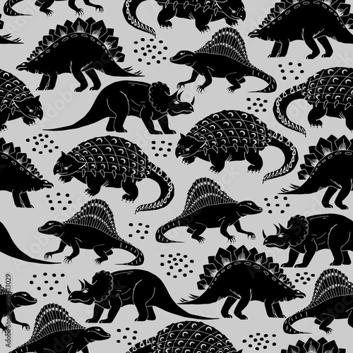 Photo Seamless Pattern with different dinosaurs
