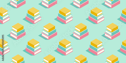 Fototapeta Stack of books seamless pattern in pastel colors. Education minimal vector background for promotion, book fair, literature festival and events. obraz