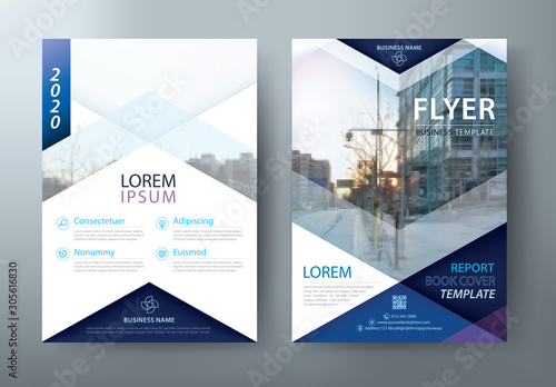 Fotomural  Blue Flyer design, Leaflet cover presentation, book cover template vector, layout in A4 size