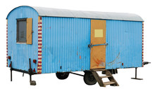 An Old Aged Blue Trailer  Was ...