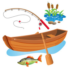 Color Images Of Cartoon Boat With Paddles, Fishing Rod And Big Fish On White Background. Hobby And Fishery. Vector Illustration Set.