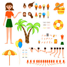 Constructor With A Female Character On A Summer Theme. Cartoon Style. Vector Illustration.