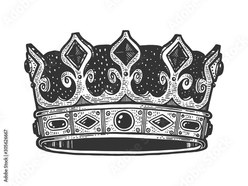 Royal crown sketch engraving vector illustration Fotobehang