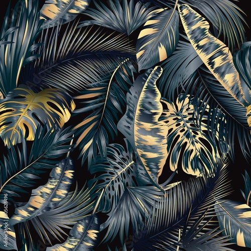 Tapety złote  gold-and-black-tropical-leaves-luxury-background-vector-seamless-pattern-exotic-botanical