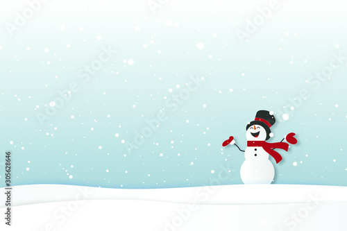 Fototapeta Merry christmas and Happy new year card with snowman