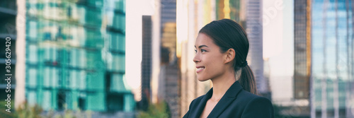 fototapeta na lodówkę Asian business woman smiling profile portrait successful career young leader in city background panoramic banner.