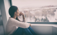 Depression, Mental Health, Psychology Therapy - Mind Wellness Well Being Asian Girl With Winter Blues Seasonal Affective Disorder Feeling Sad Or Heart Broken With Breakup Alone. Loneliness, Burnout ,